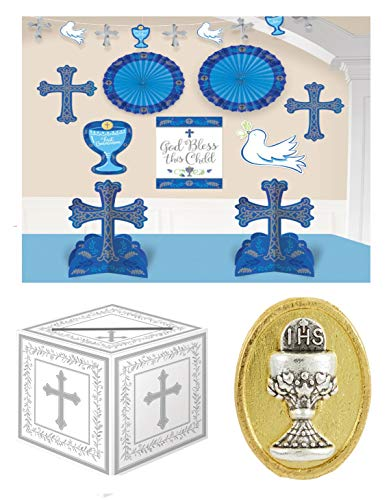First Holy Communion Boy Party Celebration Pack - Complete Room Decorating Kit, a Gift Card Box and a Tie Tac Pin Gift]()