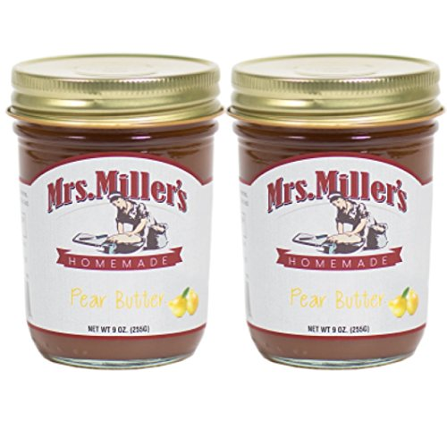 Mrs. Miller's Amish Homemade Pear Butter 9 Ounces - Pack of 2 (No Corn Sugar)