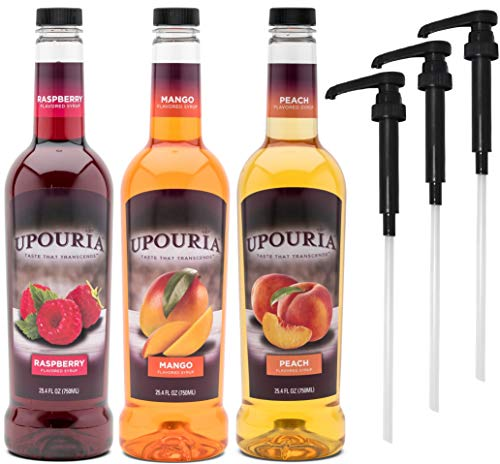 Upouria Raspberry, Mango, and Peach Coffee Syrup Flavoring Variety 750 mL Bottles with 3 - By The Cup Coffee Syrup Pumps ()