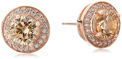 14k Rose Gold Plated Sterling Silver Champagne Cubic Zirconia and White Cubic Zirconia Halo Stud Earrings