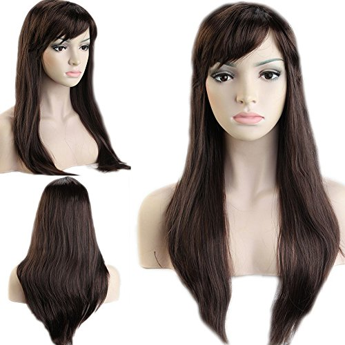Anime Costume Party Date Cosplay Synthetic Full Wig with Bangs 20 Styles Heat Resistant Fiber Vogue Long Straight Layered 20'' / 20inch for Women Girls Lady Halloween,Mix Brown Auburn