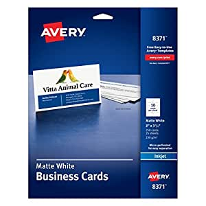 """Avery Business Cards for Inkjet Printers, Matte, White, Pack of 250 (8371) 10 cards/sheet 2"""" x 3 1/2"""""""