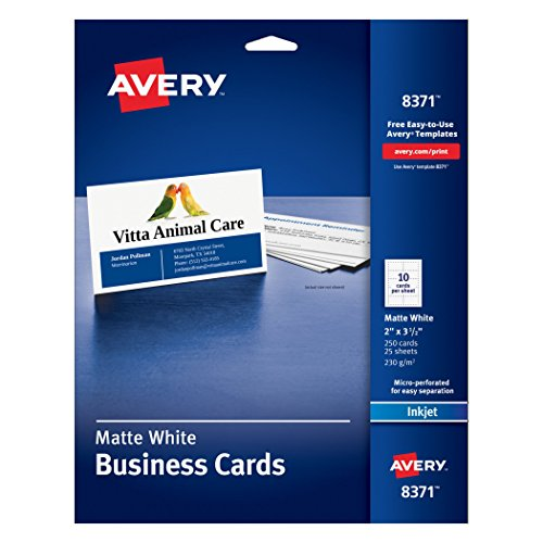 Avery Business Cards for Inkjet Printers, Matte, White, Pack of 250 (8371) 10 cards/sheet 2