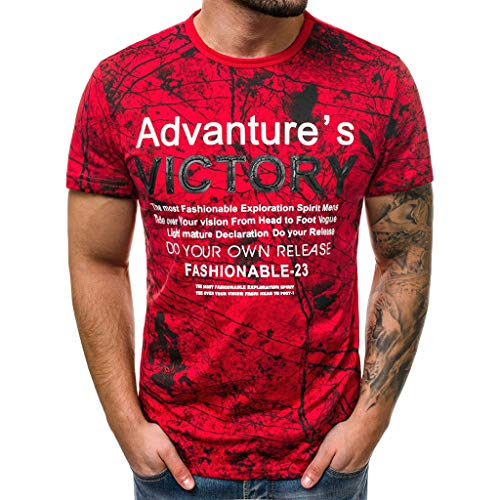 NUWFOR Printed Tops Fashion Men's Casual Slim Letter Printed Short Sleeve T Shirt Top Blouse