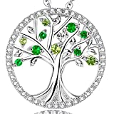 Birthday Gift for her Green Peridot and Emerald Necklace The Tree of Life Love Pendant Jewelry Sterling Silver - 20'' Chain