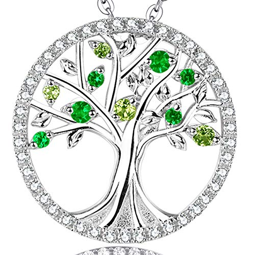 """Christmas Jewelry Gift Tree of Life Love Family Pendant Green Peridot and Emerald Necklace Anniversary Birthday Gift for her Sterling Silver - 20"""" Chain"""