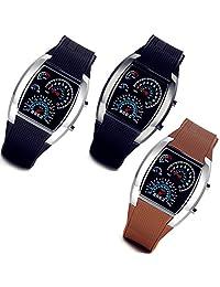 Lancardo 3 Pack Fashion Binary Digital LED Unisex Sport Wrist Watches with Gift Bag