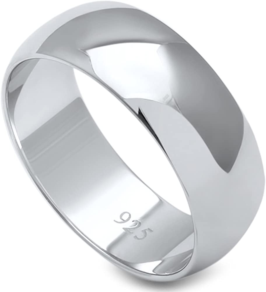 Oxford Diamond Co Solid Sterling Silver Womens Mens Unisex Wedding Band Ring Comfort 2-10mm Sizes 2-16