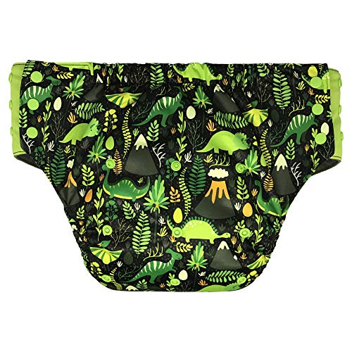 Adult Pull On Diaper with Tabs - Medium Reusable Incontinence Briefs for Women or Men (Regular, Jurassic Park)