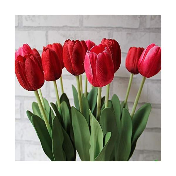 MARJON FlowersArtificial Flowers, 1PCS Silk Tulip Real Touch Fake Flowers Leaf Floral Bouquet Simulation Artificial Plant DIY for Wedding Centerpieces, Party Decoration, Home Display Decor