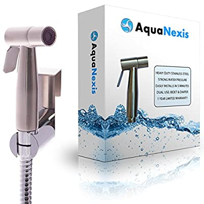 Aqua Nexis Premium Cloth Diaper Sprayer - #1 Quality - Stainless Steel Hand Held Bidet Toilet & Toilet Sprayer, w/Handheld No-Leak Attachment (Set B)