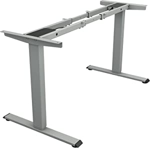 TOPSKY Dual Motor Electric Adjustable Standing Computer Desk for Home and Office (Gray)