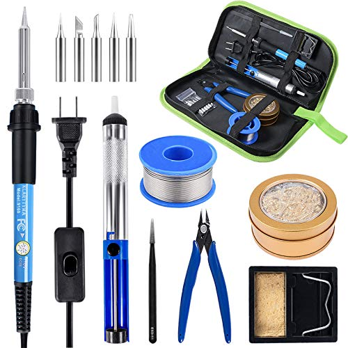 Soldering Iron, Adjustable Temperature Soldering Iron Kit with Iron Tips, Solder Sucker/Wire, Tweezers, Wire Cutter, Brass Coil Ball, Stand, Leather Storage Bag for PCB Repair, DIY Project and Welding