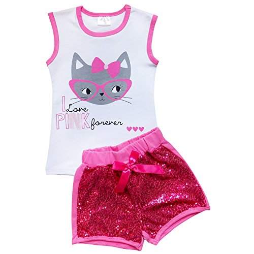 So Sydney Girls Toddler Sequin Novelty Summer Pool Beach Vacation Shorts Outfit (XS (2T), Kitty Hot Pink) - Hot Pink Kitty