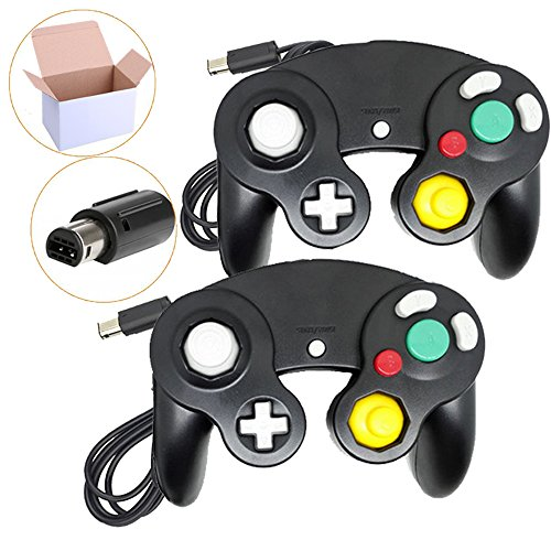 Poulep 2 Pack Classic Wired Gamepad joystick Controllers for Wii Game Cube Gamecube (Black and Black)