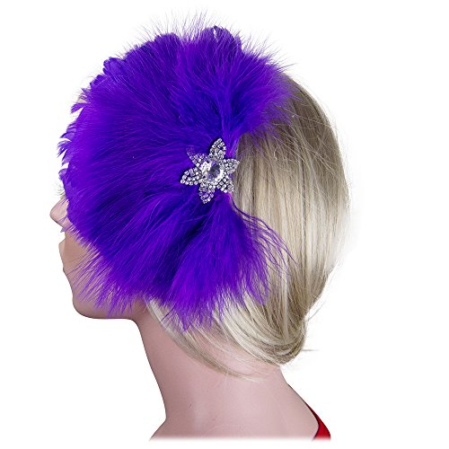 Feather Fascinator Flower Rhinestones Crystals Cocktail Hair Clip in Purple