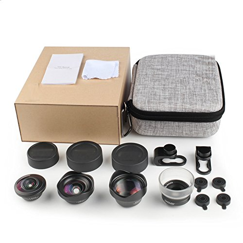 27719a84289168 cheap Phone Camera Lens Kit: Telephoto Lens + Fisheye + Wide Angle + Macro  Lens, Ansteker 4 in 1 Professional HD Cell Phone Lenses for iPhone X/8/7/7  ...