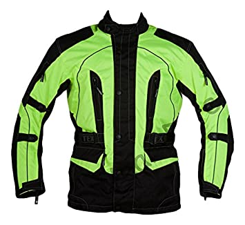 Texpeed Men s High Visibility Waterproof CE Armoured Motorcycle Textile  Jacket - Black (Black Green cace7e130