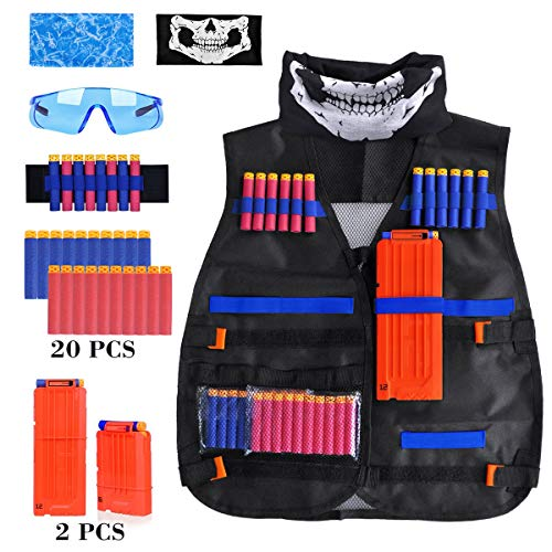 Tactical Vest Kit - Kids Tactical Jacket Vest for Nerf Guns N-Strike Elite Series with Tactical Face Mask, 2 Reload Clips, Wrist Band, Safety Glasses and Foam Bullets Darts for Boys Age 7 8 9 10 -