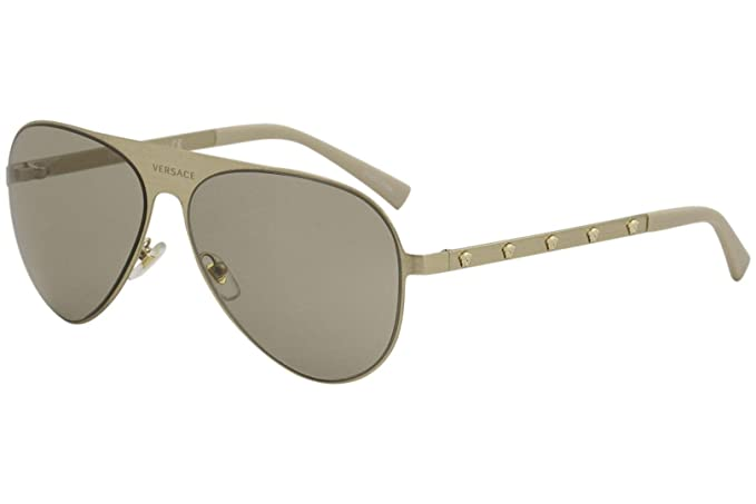 097889d3b22a Amazon.com  Versace VE2189 1339 3 Brushed Pale Gold VE2189 Pilot Sunglasses  Lens Category 2  Versace  Clothing