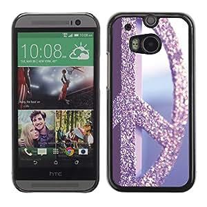 Hippie de la paz Vignette Retro Glitter - Metal de aluminio y de plástico duro Caja del teléfono - Negro - HTC One M8
