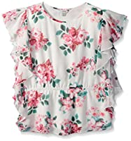 Guess Girls' Big Short Sleeve Woven Floral Top, Flower Ink Print, 7