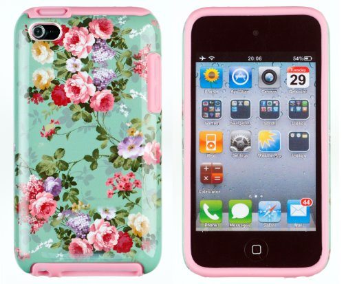 DandyCase 2in1 Hybrid High Impact Hard Vintage Sea Green Floral Pattern + Pink Silicone Case Cover For Apple iPod Touch 4 (4th generation) + DandyCase Screen Cleaner