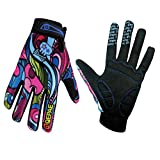 QEPAE Breathable Cycling Gloves Anti-Slip Full Finger Gel Gloves for Bicycle Riding Skiing, Gorgeous Color, X-Large