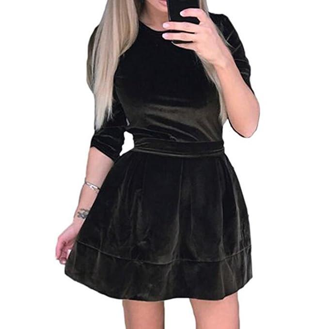 0e5145a414143 Hibote Vestiti in Velluto da Donna Elegante Girocollo Manica 3 4 con  Cintura in Velluto vestibilità Aderente e Abito Svasato  Amazon.it   Abbigliamento