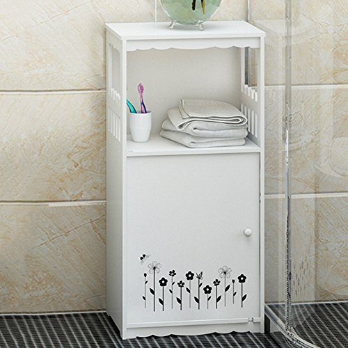 loor Standing Vanity Hair Dryer Storage Rack Free Punch Hole Bathroom Toilet Bathroom Shelf (Color : Elegant black) ()