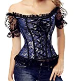Zhitunemi Women's Princess Renaissance Corset Lace Ruched Sleeves Elegant Overbust Top 3X-Large Blue