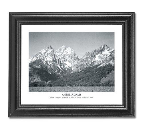 Ansel Adams Snow Teton B/W Photo Wall Picture Framed Art Print