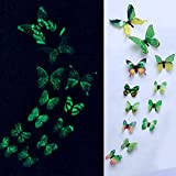 AMOFINY Home Decor 12pcs Luminous Butterfly Design Decal Art Wall Stickers Room Magnetic Home Decoration