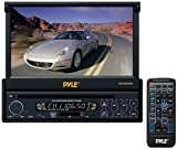 Pyle Single DIN In Dash Car Stereo Head Unit w/ 7inch Flip Out Touch Screen Monitor, Remote - Audio Video Receiver System with Radio, Camera and CD DVD Player Input, MP3, USB, SD Reader - PLTS73FX