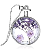 "Gmai Round Shape Dried Pressed Purple Flower Pendant Necklace,White Gold Plating,23.6"" Bead Chain"