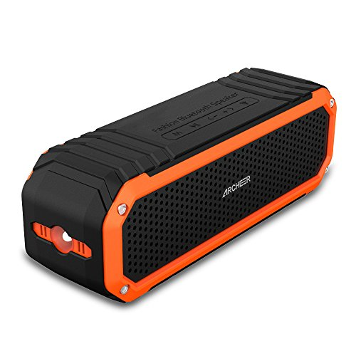 Archeer A226 Portable Bluetooth Speakers Outdoor Sport Shower Wireless Speaker with light, Clip, Microphone, Orange