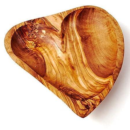 Das Olivenholzbrett Schale in Herzform l/ängliche Herzform 15cm