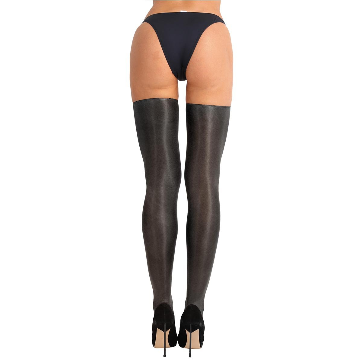 8355eeaa562 YiZYiF Women s Sheer Pantyhose Thigh High Shiny Silk Stockings Tights  Lingerie Black One Size at Amazon Women s Clothing store