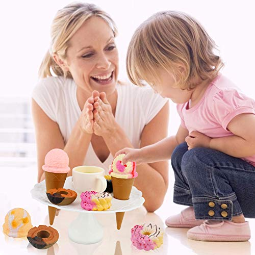 BigOtters Balancing Tower Game, Ice Cream Tower Balancing Game Stacking Game Ice Cream Parlor Playset Pretend Play Food Decorating Kit for Kids 3 and Up Birthday Present Party Favors