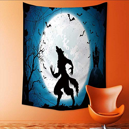 (Auraisehome Customed Widened Tapestry Dark Halloween with Moon on Blue Sky Castle and Werewolf Spiders and Flying Bats Wall Hanging Tapestry 54W x 72L)