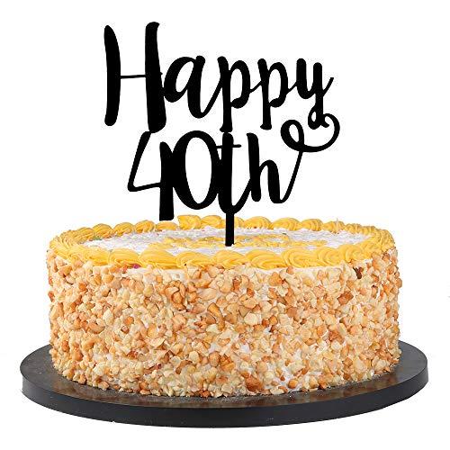 QIYNAO Black Acrylic Happy 40th Cake Topper - Birthday,Anniversary Party Acrylic cake Decoration Supplies