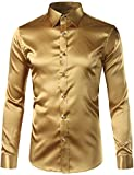 ZEROYAA Mens Solid Color Casual Slim Fit Long Sleeve Shiny Satin Prom Dress Shirt Tops Z5-Gold Small