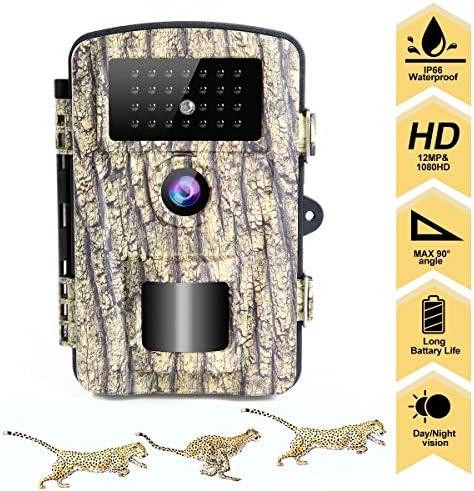 "LongOu Wildkamera Jagdkamera 1080P 12MP IP66 Nachtsichtkamera Wildkamera mit Bewegungsmelder Nachtsicht aktiviert IR-LEDs und 2,31"" LCD Display überwachungskamera"