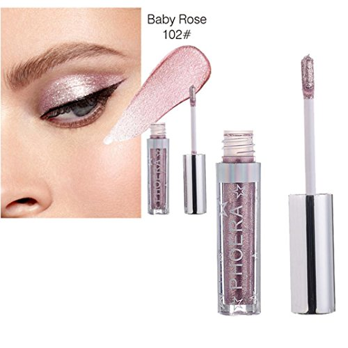 Glitter Liquid Eyeshadow 3D Metallic Shimmer and Glow Makeup Eye Shadow Shining Cosmetic Make-up Eyeliner (Pink)