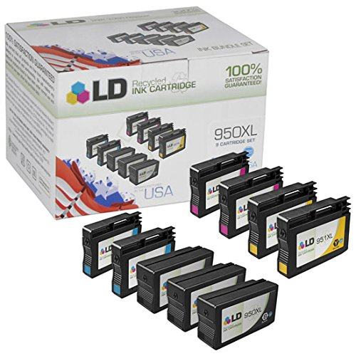 LD LD Remanufactured Set of 9 Replacement Ink Cartridges for HP 950 XL and 951 XL - 3 Black + 2 Each Cyan - Magenta - Yellow - $9.99 Each