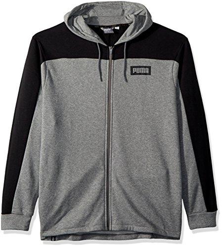 PUMA Men's Rebel Block Full Zip Hoodie, Medium Gray Heather, XL