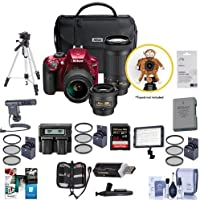 Nikon D3400 DX-Format DSLR Camera (Red) with 35mm 1.8 AF-P DX, 18-55mm F/3.5-5.6G VR, AF-P DX 70-300mm F/4.5-6.3G ED Lenses - Bundle with 64GB SDXC Card, Spare Battery, Tripod, Software Pack and More
