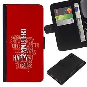 Sony Xperia Z4 / Sony Xperia Z4V / E6508 , la tarjeta de Crédito Slots PU Funda de cuero Monedero caso cubierta de piel (Merry Happy Christmas)