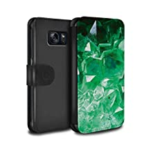STUFF4 PU Leather Wallet Flip Case/Cover for Samsung Galaxy S6 Edge / May/Emerald Design / Birth/Gemstone Collection