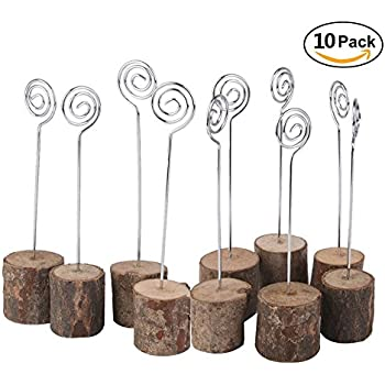 Charmant Senover Rustic Real Wood Base Wedding Table Name Number Holder Party  Decoration Card Holders Picture Memo Note Photo Clip Holder (10pcs Table  Numbers)